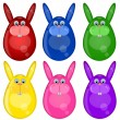 Six Colored Happy Easter Bunny Eggs - Stock Photo