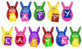 Easter Bunny Eggs Holding Alphabet Greeting Signs — Stock Photo
