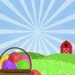 Happy Easter Egg Basket on Green Pasture - Stock Photo