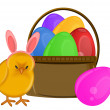 Easter Chick with Bunny Ears Headband and Basket - Stock Photo