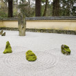 Stock Photo: Japanese Stone and Sand Garden with Tiled Roof Wall