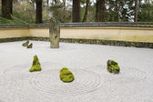 Japanese Stone and Sand Garden with Tiled Roof Wall — Stock Photo