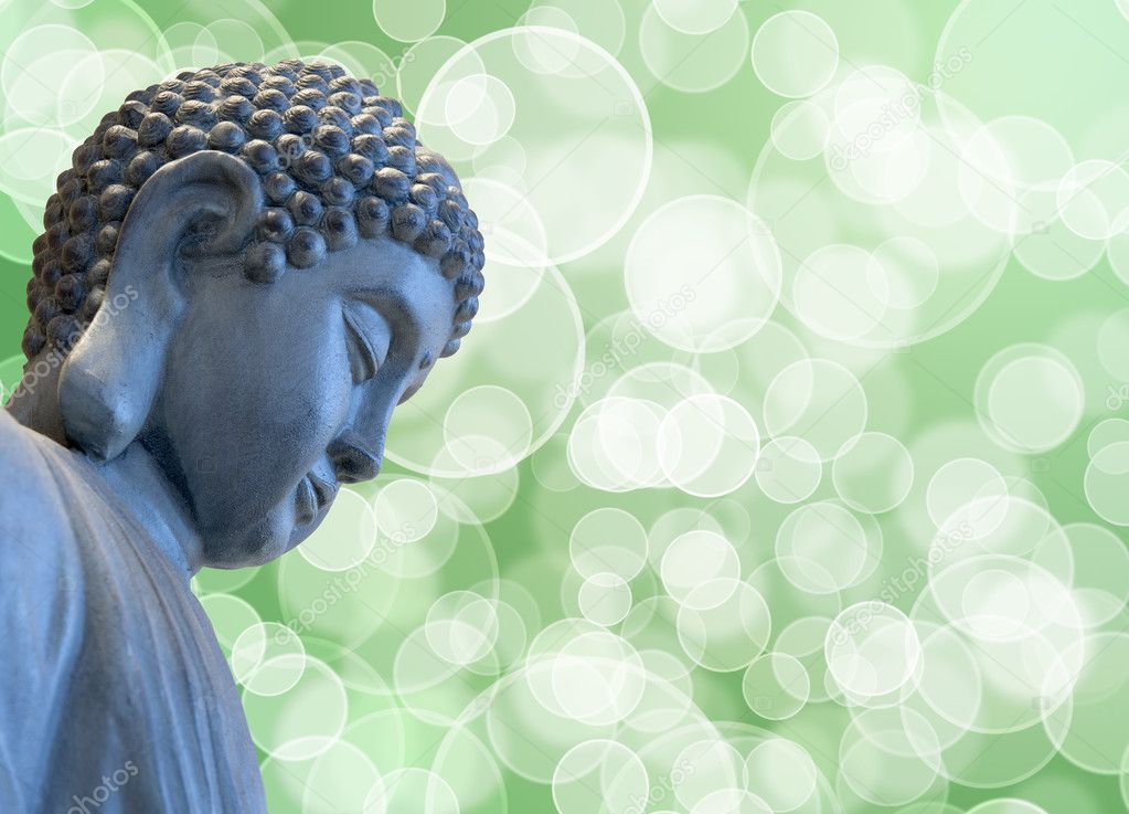 Bronze Zen Buddha Statue Meditating with Blurred Background — Stock Photo #5337103