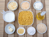Mac and cheese ingredients — Stock Photo