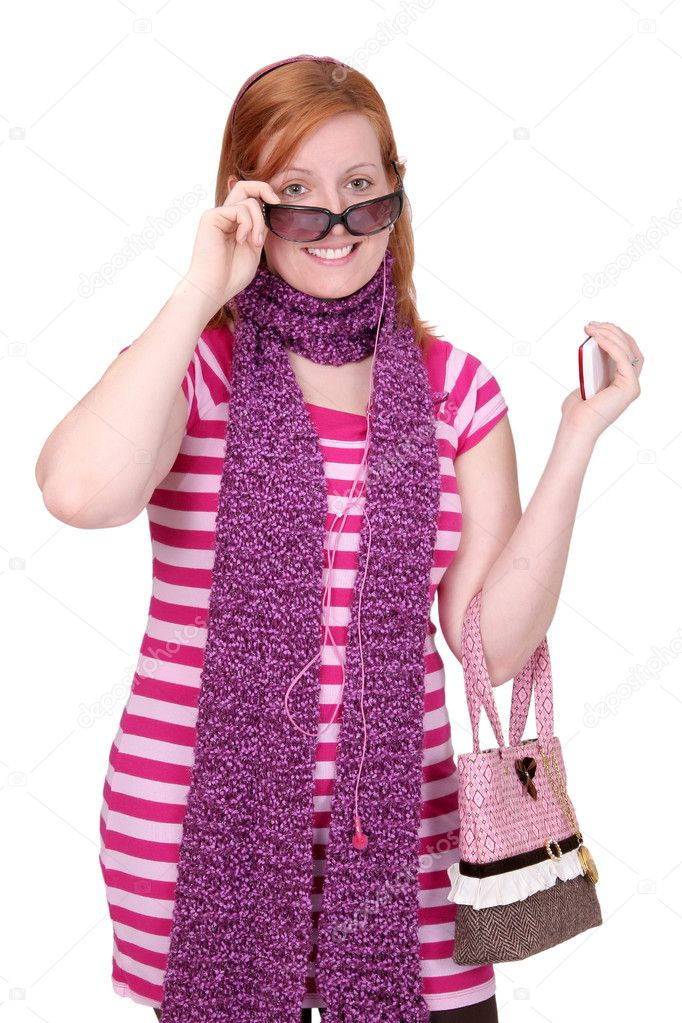 One twenties redhaired woman with glasses and scarf over white  Stock Photo #4381568