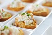 Seafood bruschetta — Stock Photo