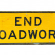Royalty-Free Stock Photo: Old end roadwork traffic sign