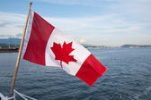 Canadian flag over a bay — Stock Photo