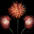Three bursts of red, white and gold fireworks — Stock Photo