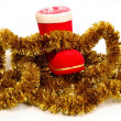 Stockfoto: Santa's boot and tinsel