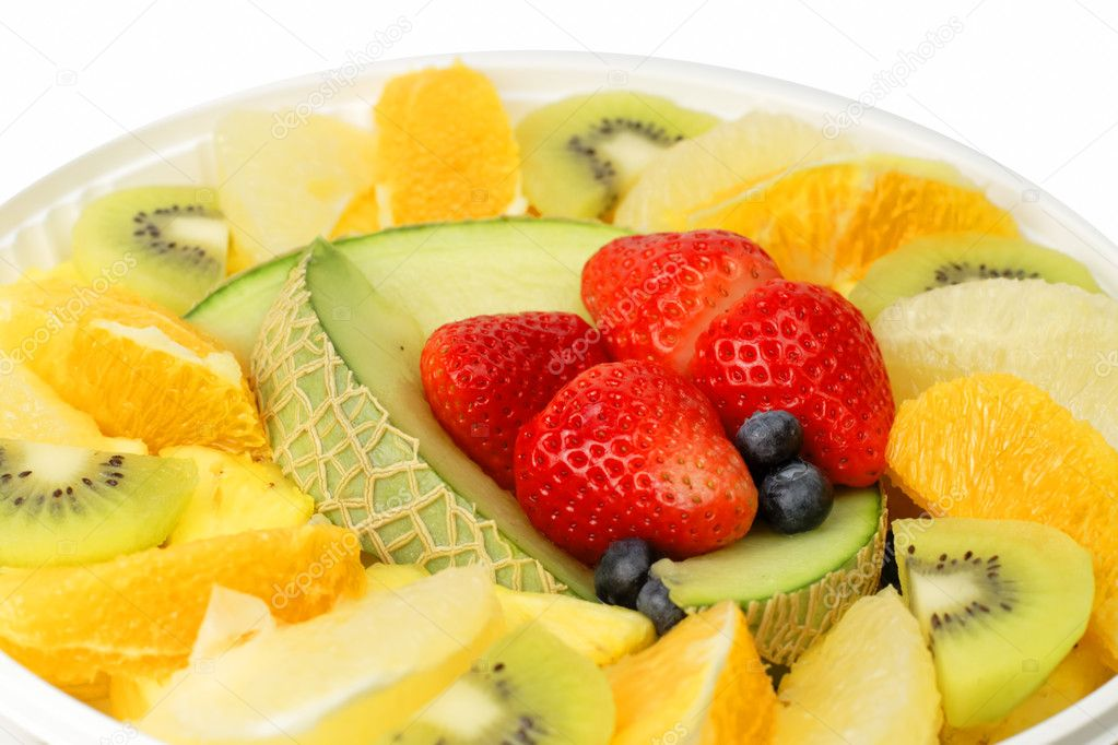 Extreme close-up image of a plate with assorted exotic fruits. — Stock Photo #5092629