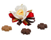 Rose and clover chocolates — Stock Photo