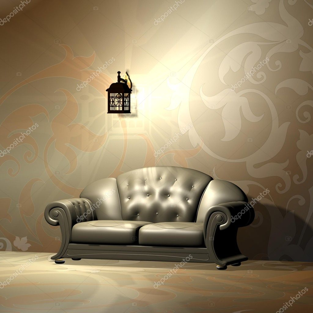An interior of a room with a beautiful burgundy sofa. — Stock Photo #4073987