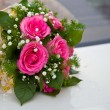 Wedding Bouquet of the bride from pink roses — Stock Photo #4855215