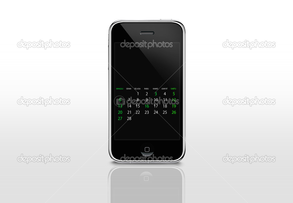 Calendar screen on iphone — Stock Photo #4748698