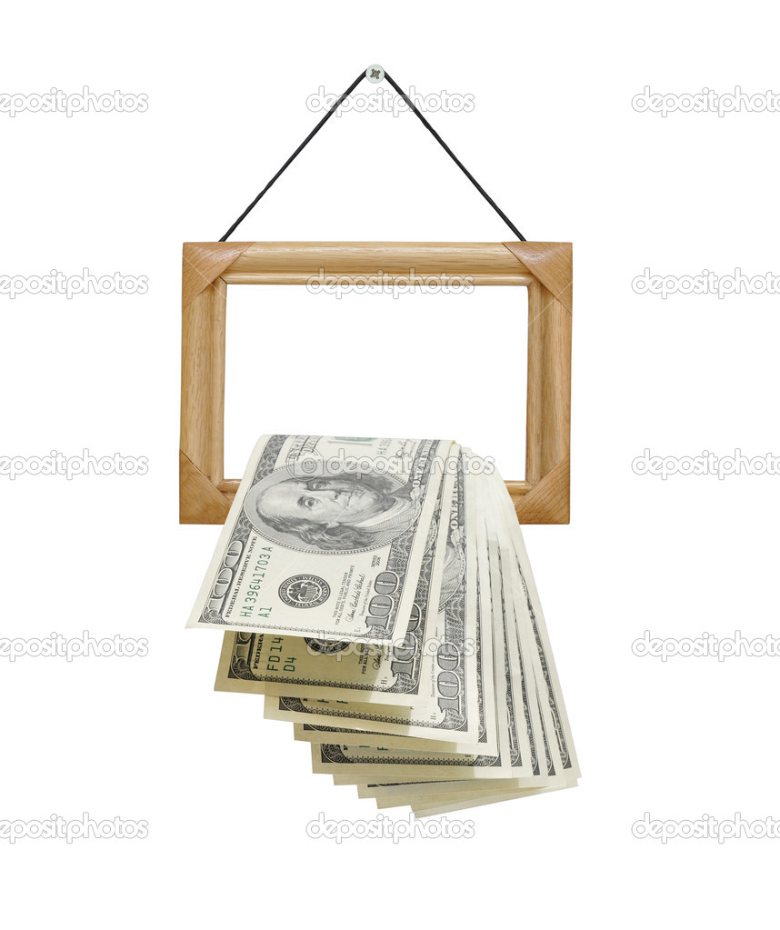 Money falling out of photo frames, isolated on white — Stock Photo #4440559