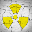 Cracked soil and radiation symbol — Stock fotografie #5296243