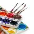 Stock Photo: Water color paints on white background and brush