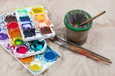 Watercolor  Paints and brushes — Stock fotografie