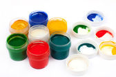 Open jars with gouache paints — Stock fotografie