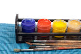 Gouache paints and brushes — Stock fotografie