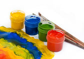 Colorful Paints and brushes — Stock fotografie