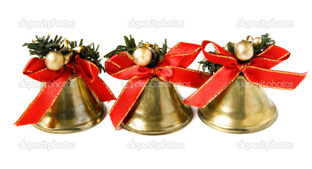 Three Christmas bells isolated on white background — Stock Photo #4455926