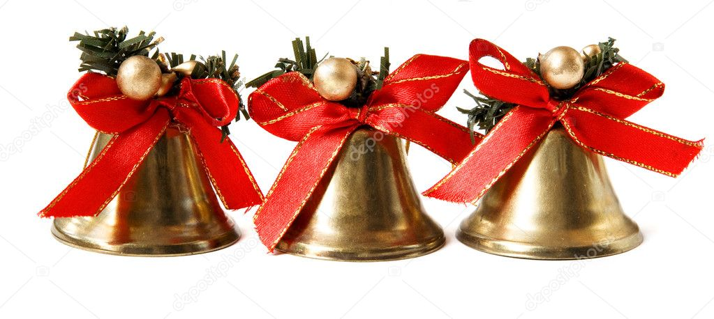 Three Christmas bells isolated on white background — Stock Photo #4538415