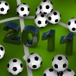 Many soccerballs with 2011 in center - Stock Photo