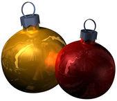 两个圣诞闪闪发光球 — 图库照片