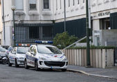 Two french police cars in the street — Stock Photo