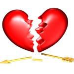 Broken heart with a golden broken arrow — Stock Photo #4635712