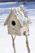 Little house to protect birds during winter — Stock Photo