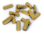 Beyaz zemin üzerinde toplu olarak altın bar — Stok fotoğraf