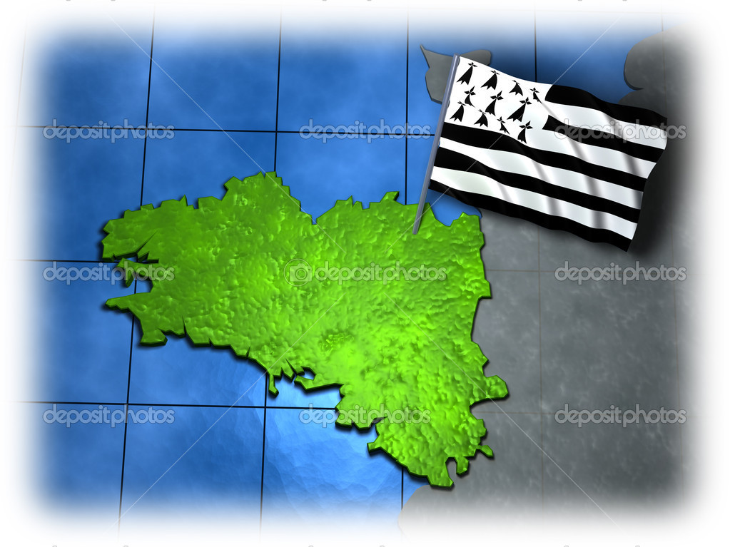 Brittany with its own flag on a white edge — Stock Photo #4822648