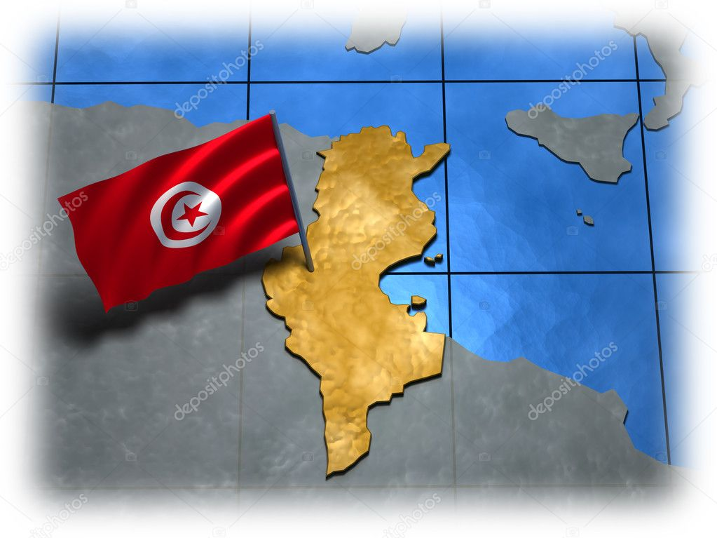 Tunisia country with its flag on a white edge — Stock Photo #4856305