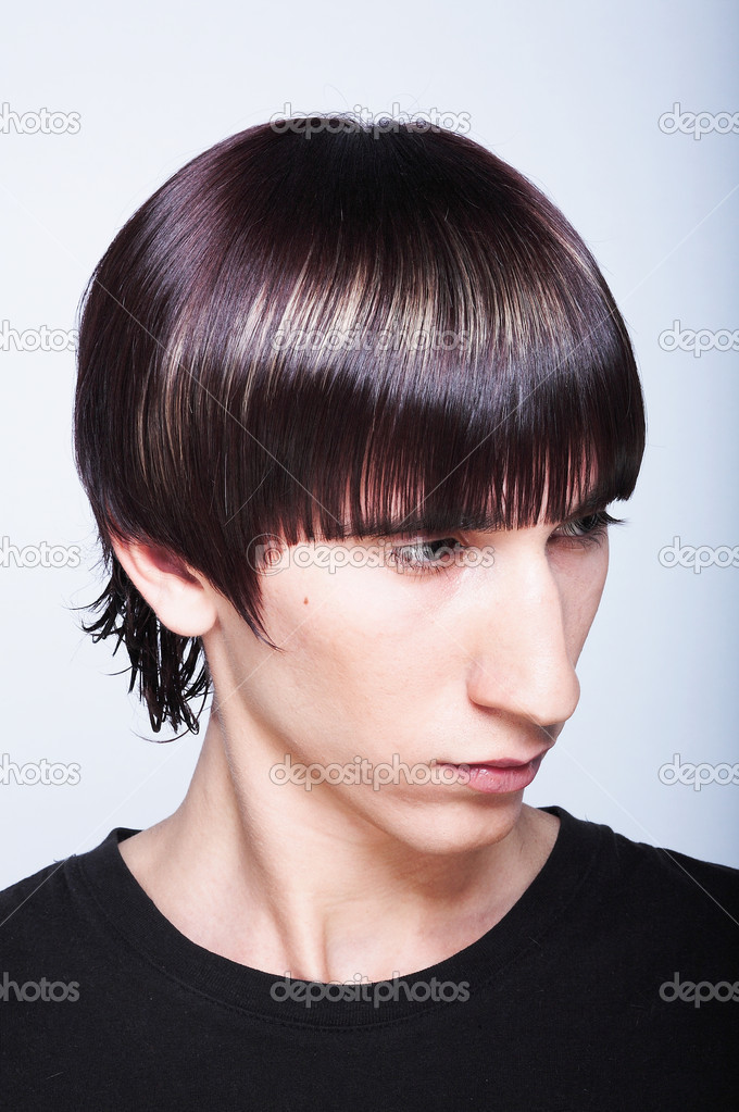 Cute young guy with fashion haircut  — Stock Photo #4128894
