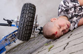 Boy after accident — Stock Photo
