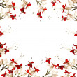 Red and black butterfly flower frame — Stock Photo