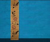 Flower bamboo banner on blue — Stock Photo