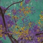 Yellow blossom with purple on aquamarine background — Stock Photo
