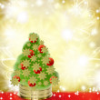 Christmas Tree on Red and Gold Background — Stock Photo