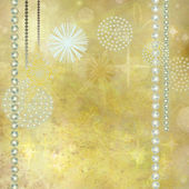 Golden Christmas Background with Gemstone Decorations — Stock Photo