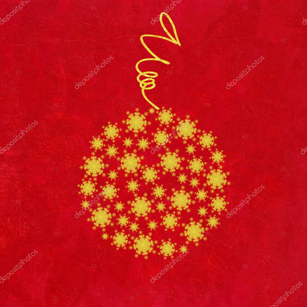 Christmas Bauble of Golden Snowflakes on Crushed Red Background   Foto de Stock   #4217575