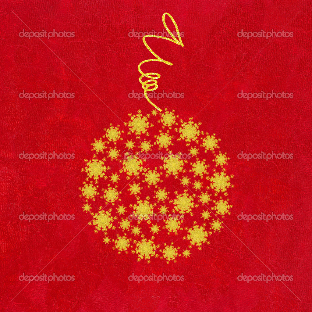 Christmas Bauble of Golden Snowflakes on Crushed Red Background  — Photo #4217575