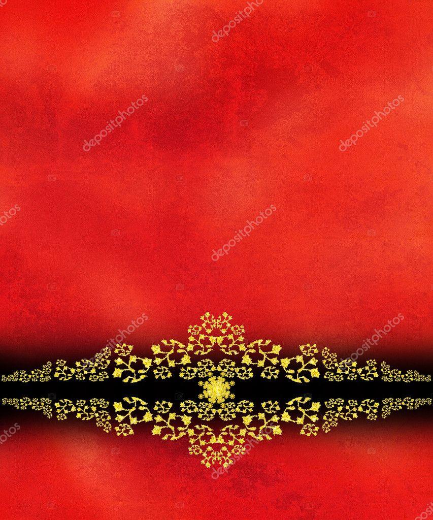 红色带纹理的背景上黄金螺旋型装饰边框