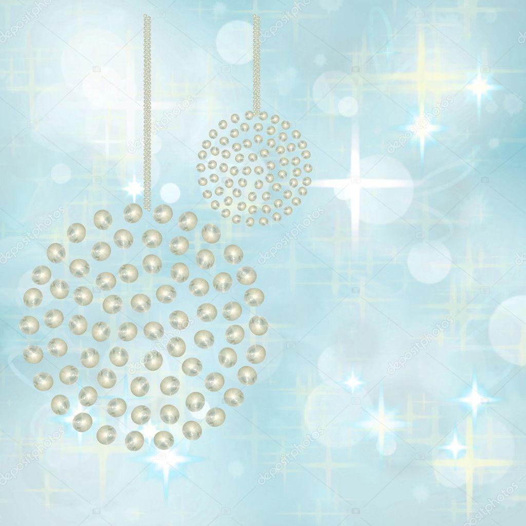 silver pearl baubles on festive blue star background  u2014 stock photo  u00a9 luceluceluce  4236752