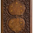 Carved wooden panel with love hearts - Stock Photo