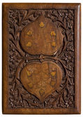 Carved wooden panel with love hearts — Stockfoto