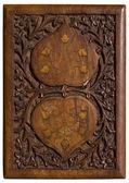 Gesneden houten paneel met liefde hart — Stockfoto